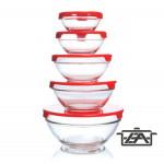 Korona 10750000 Hőálló üvegtál készlet műanyag tetővel 5 részes piros