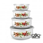 Banquet 1320068D Zománcozott ételtároló edény, műanyag tetővel 8 részes Vegetables