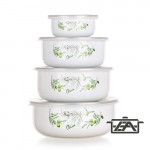 Banquet 1320078OLIV Zománcozott ételtároló edény, műanyag tetővel 8 részes Olives