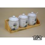 Kerámia fűszertartó szett polccal 285515 aromazárral 3 dl levendulás