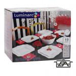 Luminarc Étkészlet szett, üveg, szögletes, 19 részes, Authentic, 502501