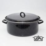 Zománcozott lábas fedővel, acélperemes, 18 liter, fekete, 1313+39/40