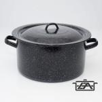 Zománcozott fazék fedővel 30 liter fekete