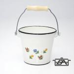 Zománcozott vödör fehér virágos 10 liter