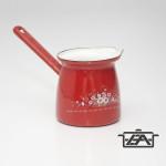 Zománcozott öblös kávékiöntő piros virág mintával 0,6 liter