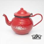 Zománcozott öblös teáskanna piros virágos 0,7 liter