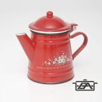 Zománcozott fedeles kávéfőző piros virágos 0,5 liter