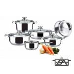 Alza 00440182 Basic Rozsdamentes edénykészlet üvegfedővel 10 részes Kifutó termék!