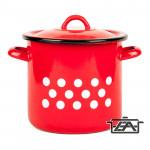 Zománcozott fazék fedővel, 3 liter, piros pöttyös, 2+39/17/pp