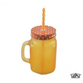 Perfect Home 13840 Bögre szívószállal matt narancs