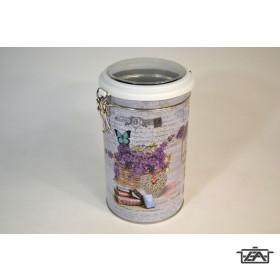 Aromazárós, csatos doboz, 10,5x19cm, fém, levendula mintás, 409102