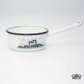 Zománcozott nyeles lábas 0,75 liter fehér
