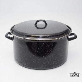 Zománcozott lábas fedővel 20 liter fekete