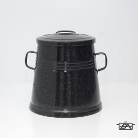 Zománcozott füles zsírosbödön fém fedővel fekete 10 liter