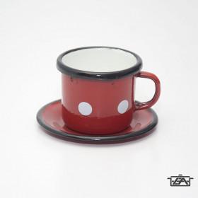 Zománcozott piros pöttyös kávéscsésze alátéttel 0,05 liter