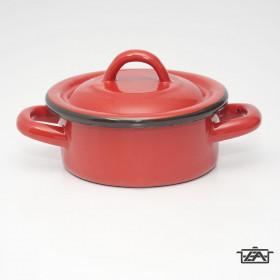 Zománcozott lábas fedővel 2,5 liter piros