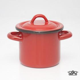 Zománcozott fazék fedővel 1,5 liter piros