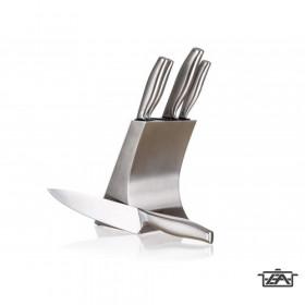 Banquet 25048011 Rozsdamentes univerzális 5 részes késtartó állvány Metallic