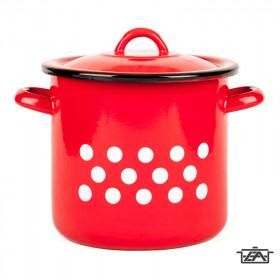 Zománcozott fazék fedővel, 6 liter, piros pöttyös, 2+39/21/pp