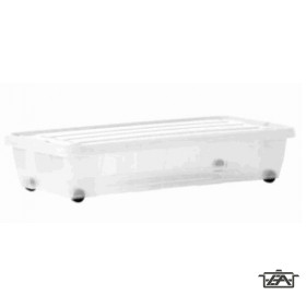 Tároló doboz, műanyag, 34 liter, gurulós, tetővel, SA444