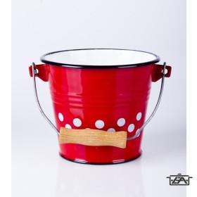 Zománcozott vödör piros pöttyös 5 liter